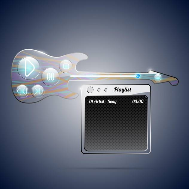 Guitar with amp audio player on blue background - vector gratuit #132216