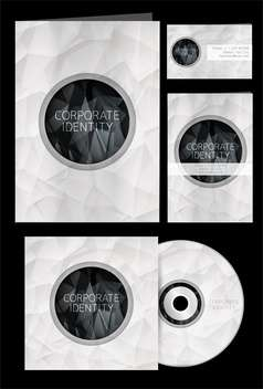 Selected corporate black and white templates with disk , vector Illustration - Free vector #132226