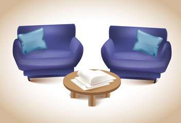 Two purple sofas with journal table ,vector illustration - vector #132286 gratis