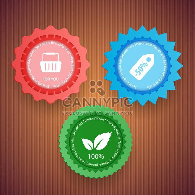 colorful sale labels on brown background,vector illustration - Free vector #132306