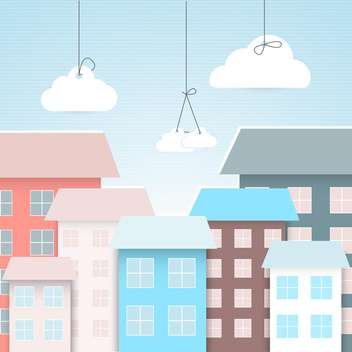 Vector town with colofrul houses and white clouds,vector illustration - vector gratuit #132326