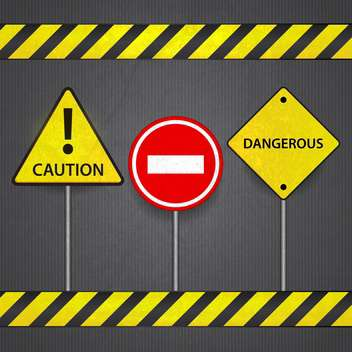 Vector road signs: stop ,caution, dangerous - vector gratuit #132346