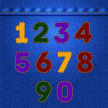 Vector colorful numbers on jeans texture,vector illustration - vector gratuit #132356