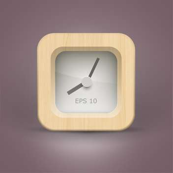 clock icon button in wooden frame - vector #132396 gratis
