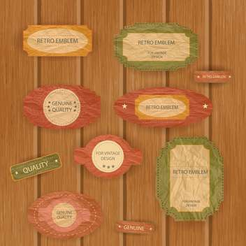 colorful vintage frames on wooden background - vector gratuit #132446