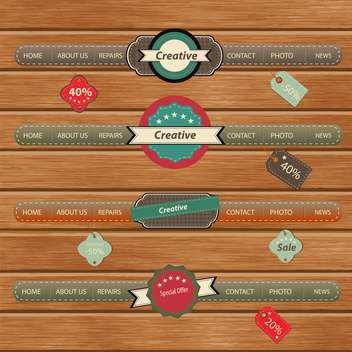Vintage frames on wooden background - vector gratuit #132456