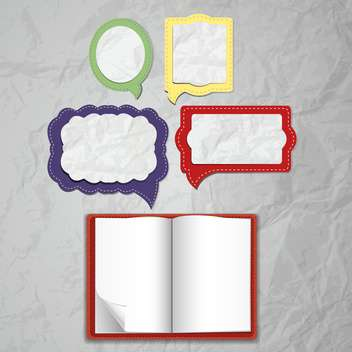 set of speech bubbles with notepad - vector gratuit #132516