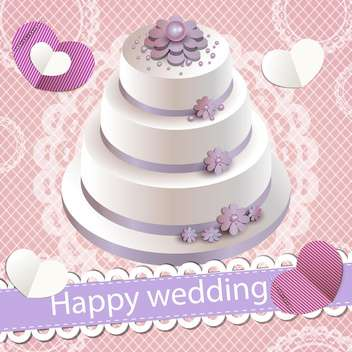 happy wedding invitation with party cake - Kostenloses vector #132526
