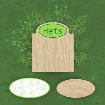 green herbal and eco labels background - vector gratuit #132546