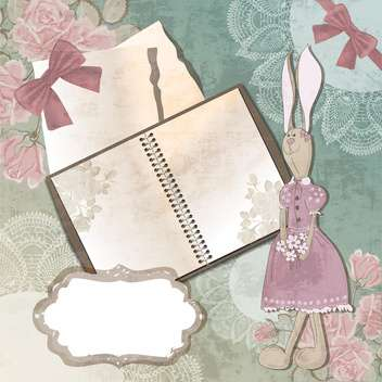 vintage paper notebook with rabbit illustration - бесплатный vector #132556