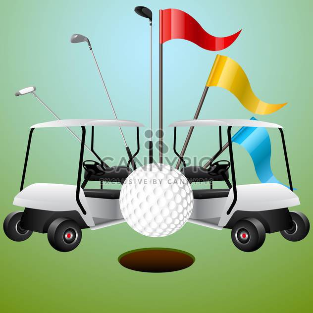golf cars and game accessories set - Free vector #132586