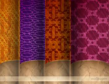 retro damask wallpaper set backgrounds - vector gratuit #132616