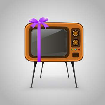retro vector TV with ribbon - vector gratuit #132806
