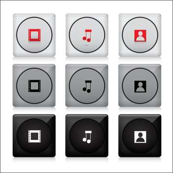 set of media web buttons - vector gratuit #132886