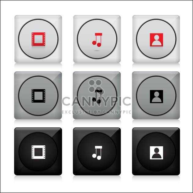 set of media web buttons - Free vector #132886