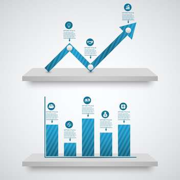 business graph with growth arrow - vector gratuit #132986