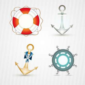 vector nautical icons set - vector gratuit #133106