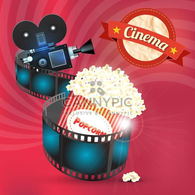 cinema popcorn and film reel - Free vector #133126