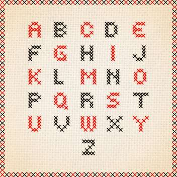 cross stitch font alphabet letters - vector #133306 gratis