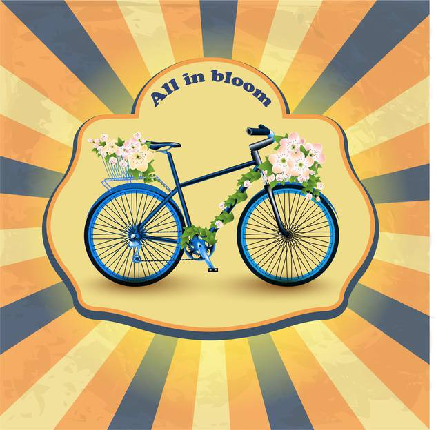 vintage bicycle with flowers in basket - Free vector #133336