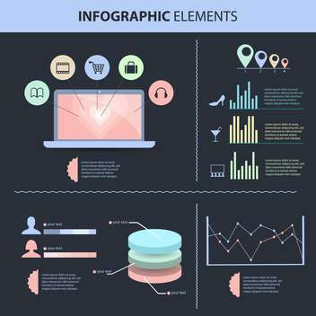 retro business infographics set - vector gratuit #133396