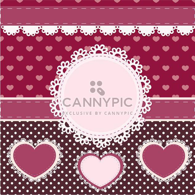vector set of pink frames with hearts - Free vector #133446