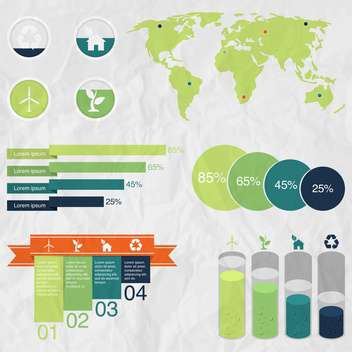ecology infographics collection with charts - vector gratuit #133526
