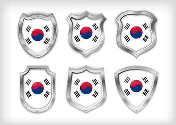 south korea vector shield set background - vector #133596 gratis
