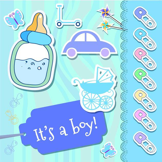 vector baby boy greeting card - vector gratuit #133726