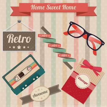 vector set of retro elements - Free vector #133746