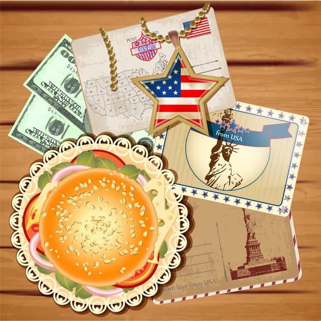 travel to america vector postcards set - Free vector #133766