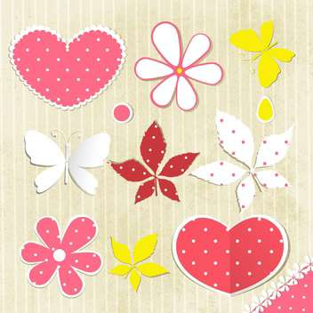 summer floral background with butterfly - vector gratuit #133806
