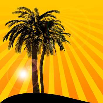 orange sunset background with palm tree - vector gratuit #133816