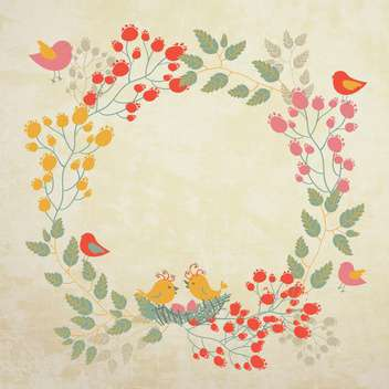 summer background with flowers and birds - vector gratuit #133826