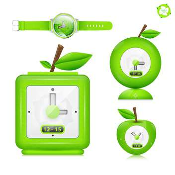 eco watch vector icon set - vector gratuit #133846