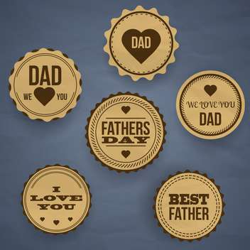 vintage happy father's day labels and icons - vector #133896 gratis