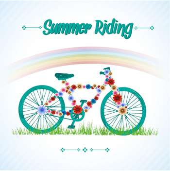 summer time vintage bicycle poster - бесплатный vector #133926