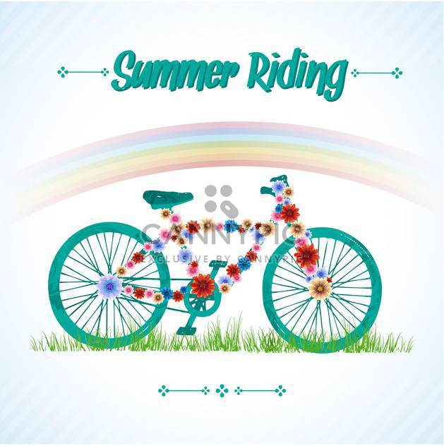 summer time vintage bicycle poster - Kostenloses vector #133926