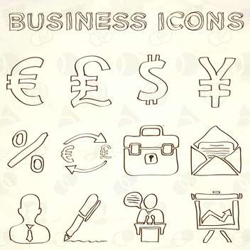 hand drawn business doodles set - vector #133996 gratis
