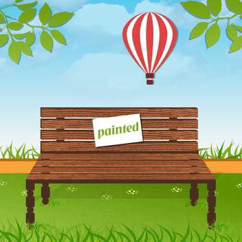 painted wooden bench in park - vector gratuit #134006