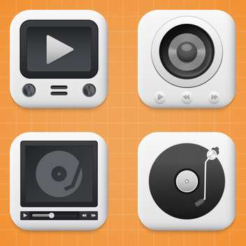 media player buttons set - vector gratuit #134016