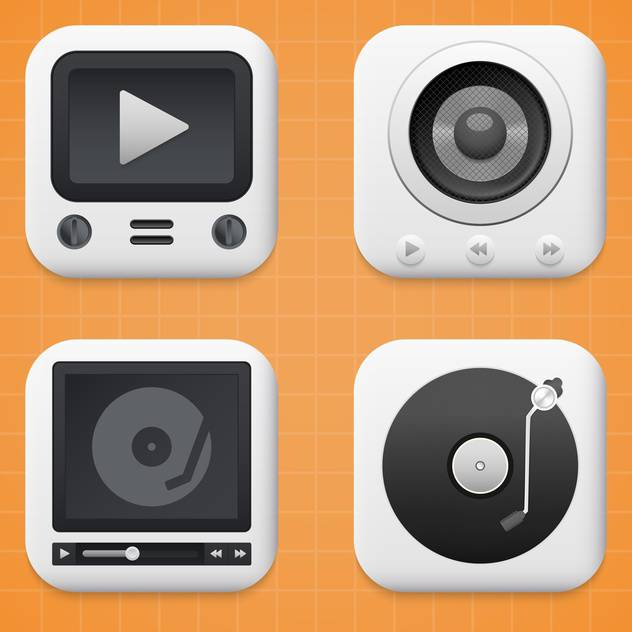 media player buttons set - бесплатный vector #134016