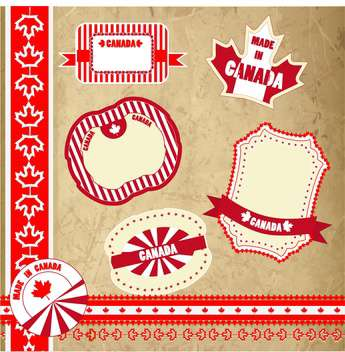 set of canada labels, badges and stickers - vector gratuit #134066