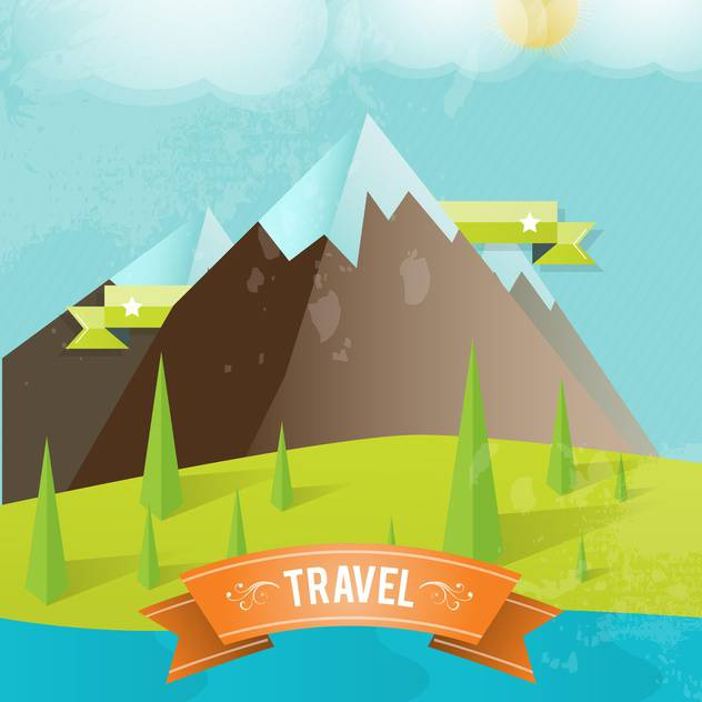 travel card with mountains background - Free vector #134196