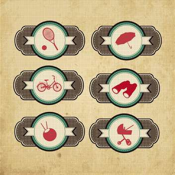 vintage design elements set - vector gratuit #134206