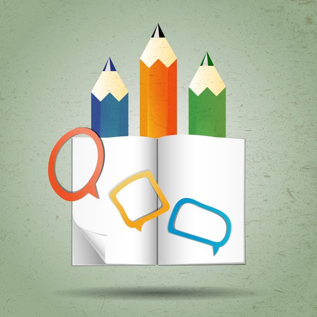 pencil and book graphic illustration - vector gratuit #134246