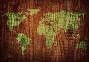 world map carving on wood plank - vector gratuit #134296