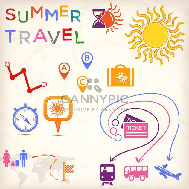 set of travel icons - Free vector #134326