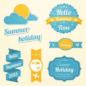 summer holiday vacation signs set - vector gratuit #134376