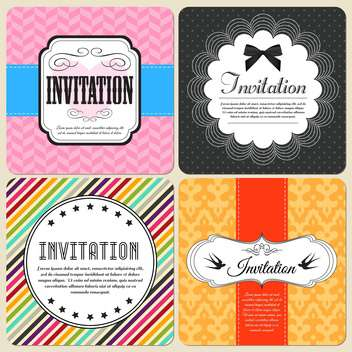 invitation cards set background - vector gratuit #134396